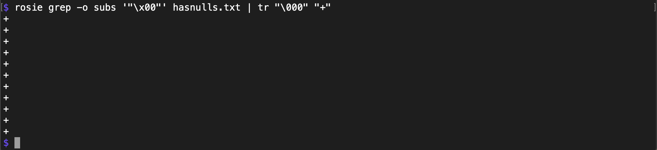 Rosie Pattern Language: Handling null characters
